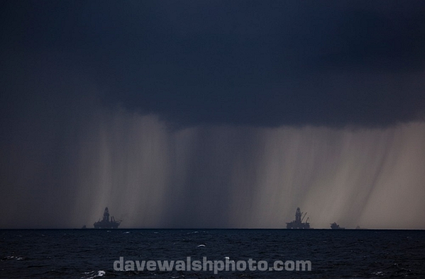 Transocean Development Driller rigs in squall at Deepwater Horizon disaster site.