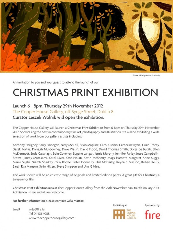 Christmas Exhibition at the Copper House Gallery, Dublin, with Dave walsh