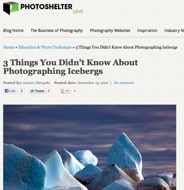 Photoshelter Interview of Dave Walsh on The Cold Edge