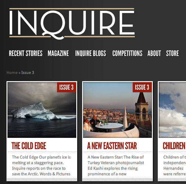 Inquire Magazine featuring The Cold Edge by Dave Walsh