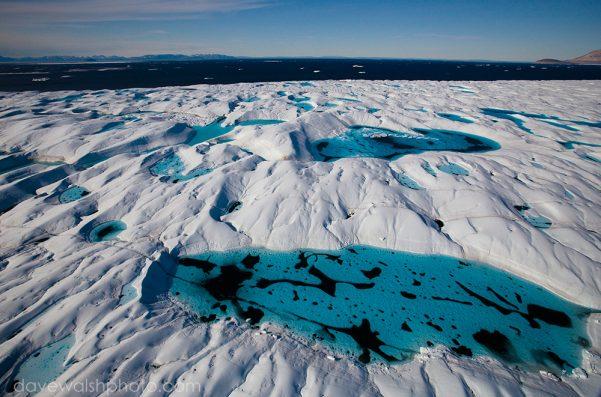 Aerial views Melt Pools on Petermann Glacier, in remote northwest Greenland