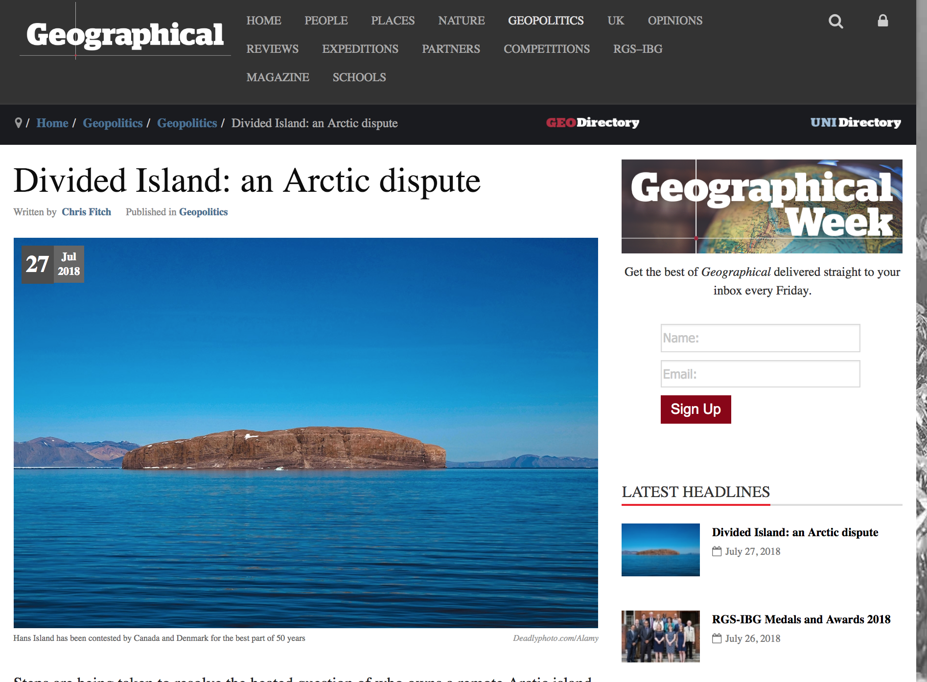 Divided Island: an Arctic dispute