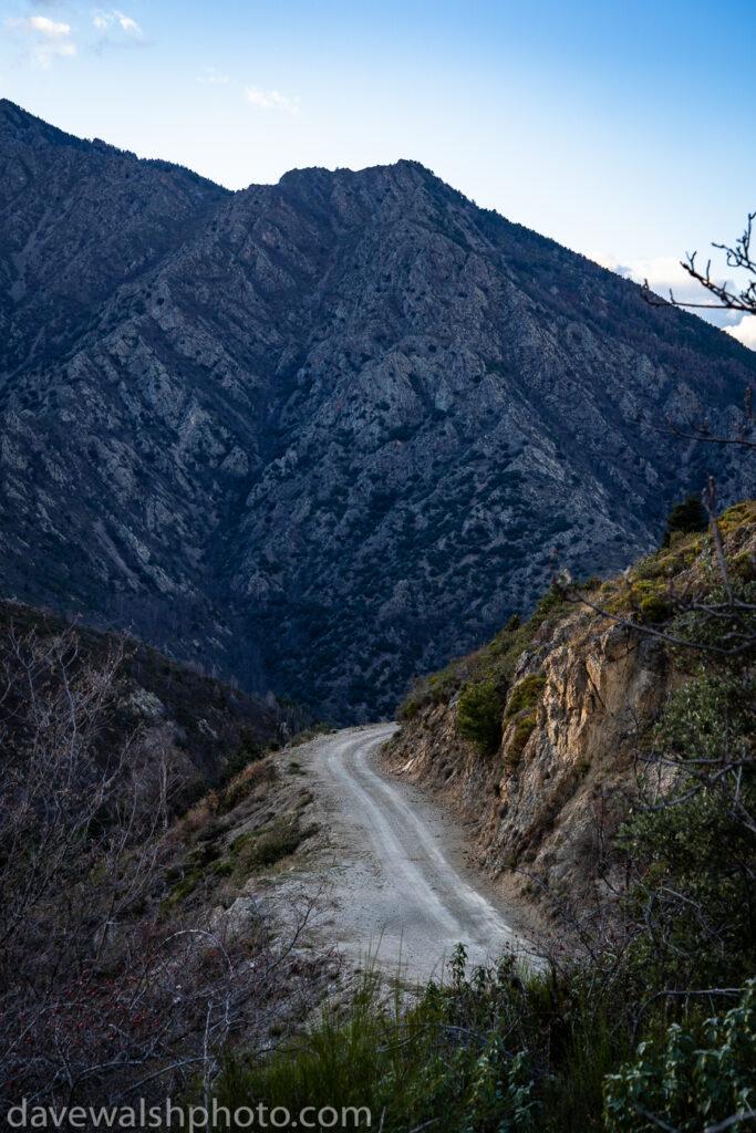 The road escapes. Col de Jou, Pyrenees Orientales, France